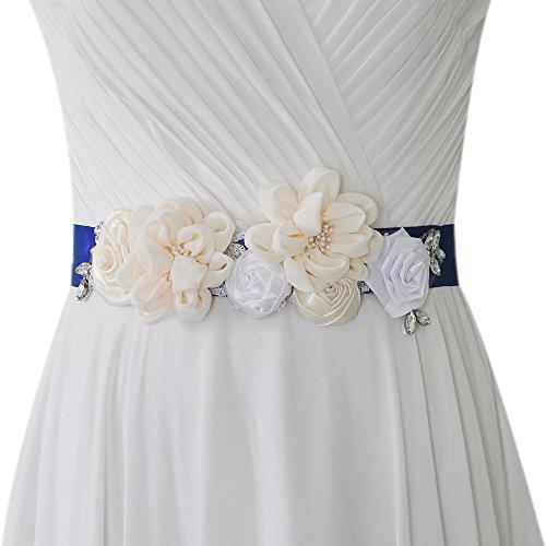 TOPQUEEN bloemenhuwelijksgordel bruidsgordel trouwjurk riem Ivory Glitter (S320)
