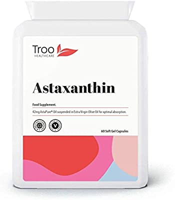 Natural Astaxanthin AstaPure Oil Supplement (42mg) - 60 Soft Gel Capsules - High Grade Strain Haematococcus Pluvialis | UK Manufactured