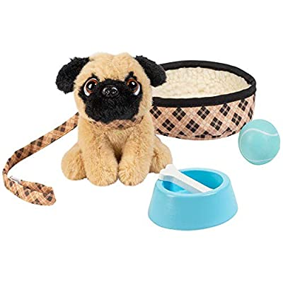 Adora Amazing Pets Preston the Brown Pug – 18 Doll Accessory includes 4.5 Dog, Dog Bed, Collar, Leash, Ball, Wooden Bowl and Bone (Amazon Exclusive) from Adora