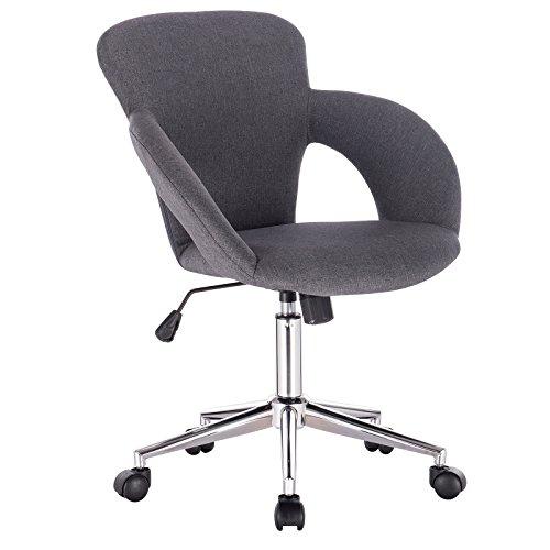 WOLTU BS17dgr Chaise de Bureau pivotante et réglable,Fauteuil de Bureau Design Ergonomique en Lin,Gris Foncé