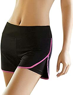 Women Sports Shorts Gym Workout Waistband Fitness Yoga Loose Shorts Summer Running Shorts:Rose red, L