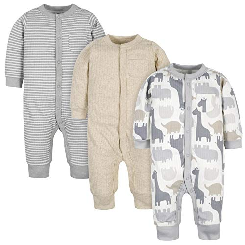Gerber Baby Boys' Organic 3-Pack Coverall Set, Jungle Grey White, 0-3 Months