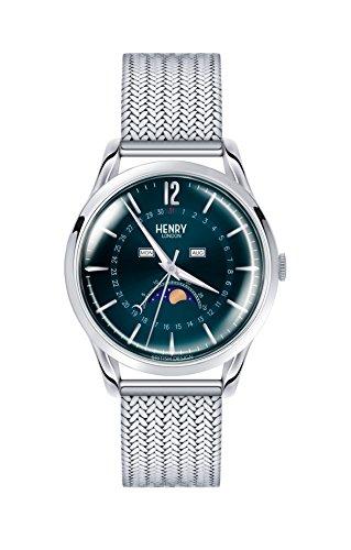 Henry London Unisex Mondphase Quarz Uhr mit Edelstahl Armband HL39-LM-0085
