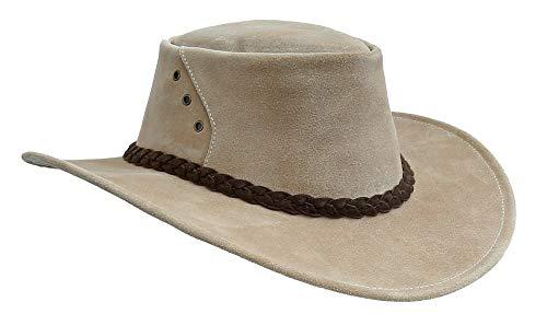 Kakadu Traders The Alice - Cappello in pelle scamosciata per esterni, prodotto in Australia beige XXL