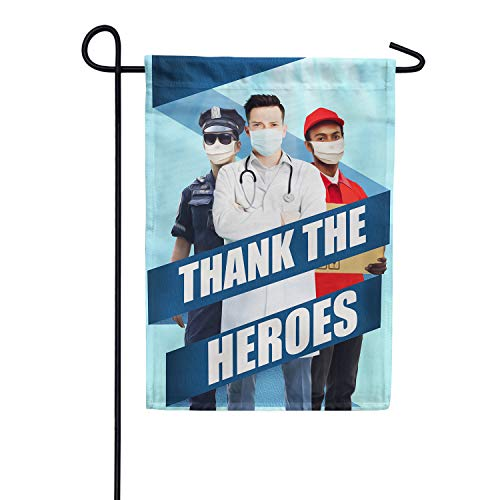 America Forever Flags Double Sided Garden Flag - All Heroes Deserve Thanks - 12.5' x 18', Thank You Healthcare Workers, Fight Against Covid-19 Coronavirus Pandemic Flag, Yard Outdoor Decor Flags