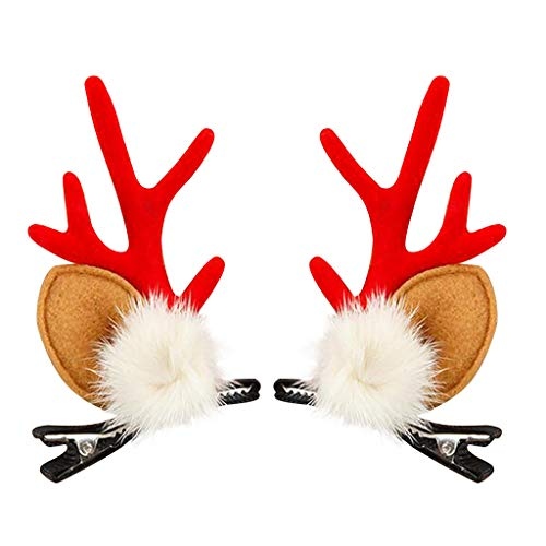 Anyren Christmas Girl Hair Accessories Children Hair Clip Cute Pompom Antlers Hairpin Clamp Spring Hairpin Headware Dress Up Accessories (E)