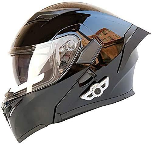 QBAMTX Casco Moto modulare Bluetooth Casco Moto Integrato HD Nero Marrone Lente Cuffie e Microfono integrati Casco da Corsa Integrale Design della personalità Adatto a Tutte Le Stagioni