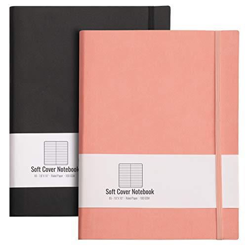 Paquete de 2 Cuaderno Rayas/Lined Notebook, B5 19 x 25 cm, Diarios de tapa blanda + total 408 páginas, Papel Grueso 100g/m², Cierre Elástico, Divisores de Regalos, Grande (Negro,Rosa)