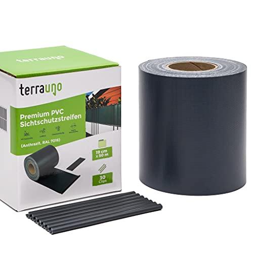 TerraUno - Premium Sichtschutzstreifen für Doppelstabmattenzaun - Gartenzaun I 50mx19cm inkl. 30 Clips I Anthrazit I PVC Sichtschutz für den Zaun