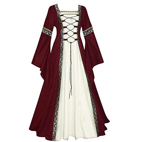 Dihope, - Vestido Medieval para Mujer Adulto gótico de Renacimiento, Disfraz de Cosplay, Victoriano, Cordones de Reina, Tubo, Vestido de Fiesta de Princesa Larga, Halloween Rojo Intenso XXXL