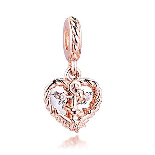 Gflyme 2021 verano rosa cuerda corazón y amor ancla colgante plata 925 DIY se adapta a pulseras originales Pandora encanto joyería de moda