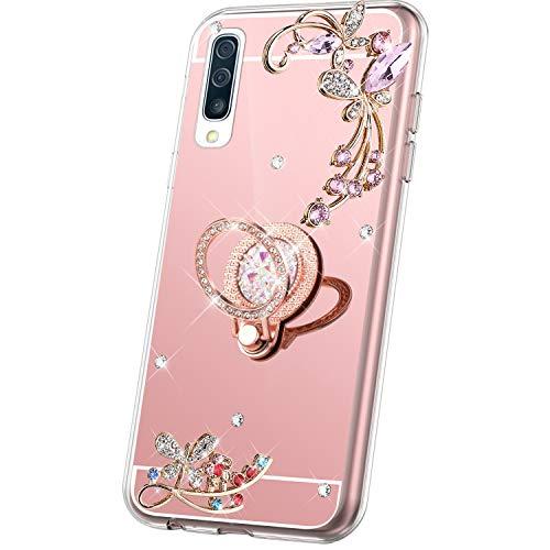 Kompatibel mit Samsung Galaxy A30S Hülle Spiegel Glänzend Glitzer Kristall Strass Diamant Schmetterling Blumen TPU Silikon Handyhülle Tasche Schutzhülle Case Ring Halter Ständer,Rose Gold
