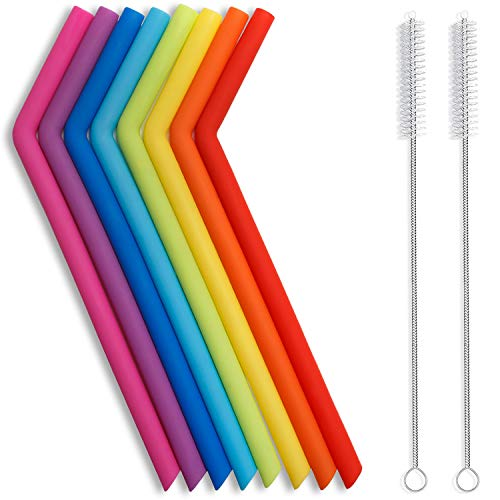 """Thin Silicone Straws for Kids 0.3"""" Diameter Extra Long Flexible Bend Smoothies"""
