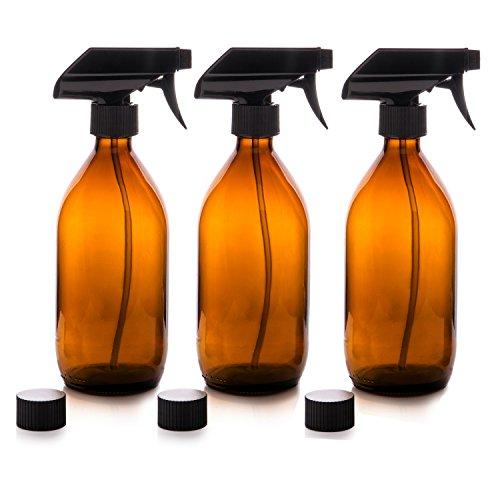 Vaporizador en Botella de Cristal �mbar Set 500 mL. Reutlizable/Eco-friendly/Orgánico/Limpieza/Plantas/Cabello/Bricolaje (3 x...