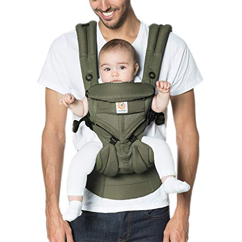 Ergobaby Babytrage ab Geburt, 4-Positionen Cool Air Omni 360 Khaki Grün, Ergonomische Baby Tragetasche für Neugeborene bis Kleinkind, Kindertrage