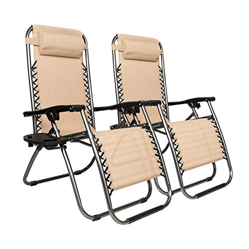 Basic-Center New Modern Zero Gravity Chairs Case of (2) Tan Lounge Patio Chairs Outdoor Yard Beach New Furniture Deck Balcony Pool Side Relax Sleeping