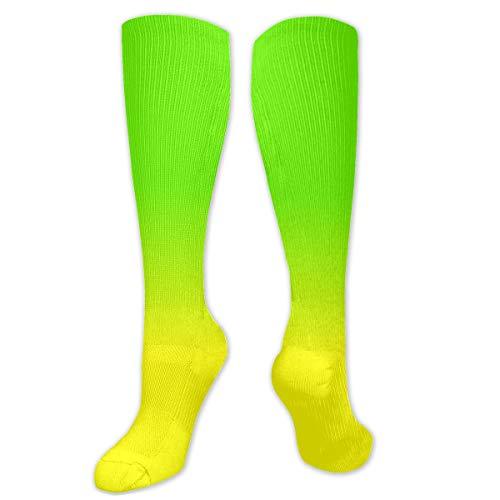 Lange Socken, Neongrün & Neongelb, Ombré-Schattierung, 50 cm lang, kniehoch, Outdoor-Stiefelsocken, Wandern, Trekking, Multi-Leistung für Damen & Herren