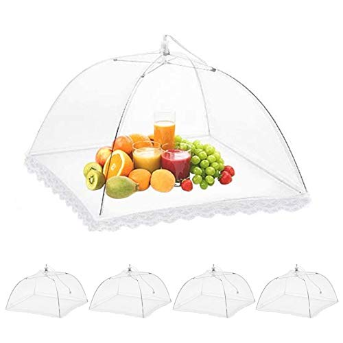4pcsFood Cover Tent Umbrella,Food Cover Tent,Covers Net for Outdoors,Used for Parties Picnics,BBQs,Reusable and Collapsible,45 * 5.3 * 5.3(White)