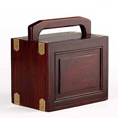 LULUTING CQS Joyería Antigua Caja de Caoba Retro joyería Caja de Madera Chino Retro de Tres Capas del Tesoro Joyero (Color: Rojo, Tamaño: 18 × 11,5 × 18 cm)