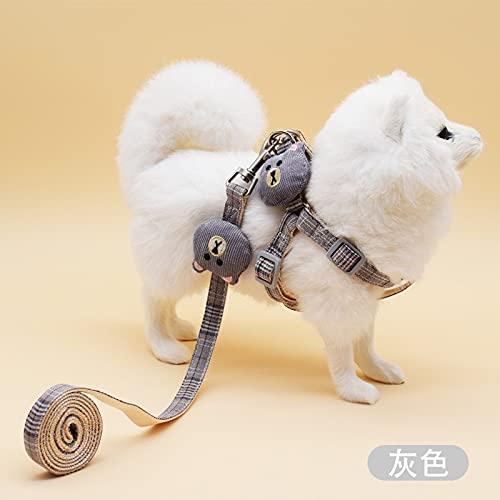 AGKU Suave mascota perro gato arnés y correa collar Set ajustable con precioso oso juguete para mascotas pequeñas medianas caminatas al aire libre suministros M gris