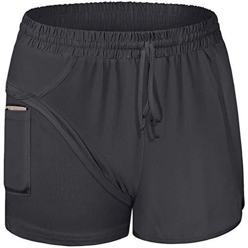 HULKY Damen 2 in 1 Sport Shorts Yoga Shorts Laufshorts Fitness Trainingsshorts Stretch Tennis Shorts mit Inner Pockets(Schwarz 1,XL)