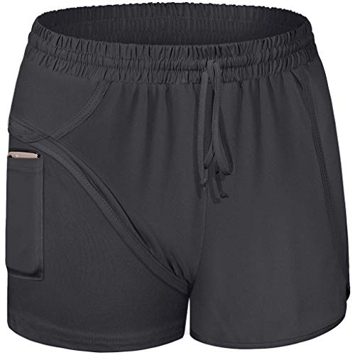 HULKY Damen 2 in 1 Sport Shorts Yoga Shorts Laufshorts Fitness Trainingsshorts Stretch Tennis Shorts mit Inner Pockets(Schwarz 1,XL)