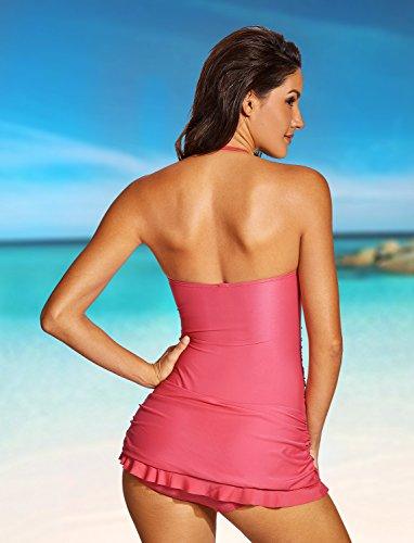 DOBREVA - Bañador con Falda Traje de baño de Una Pieza Halter para Mujer Hot Pink 48
