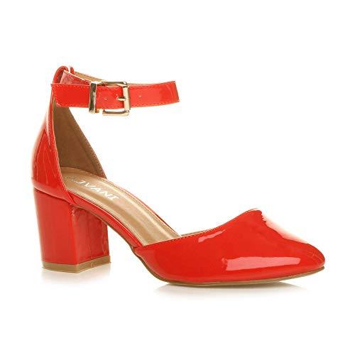 Damen Mitte Blockabsatz Knöchelriemen Schnalle Elegant Pumps Sandalen Größe 5 38