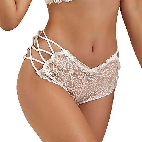 Tangas para mujer, talla grande, encaje, sexy, talla baja, elástico, pantorrilla, lencería floral transparente, talla XS a 4XL, blanco, XS/S