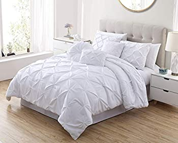 Sydney 7-Piece Pinch Pleat Pintuck Bedding Comforter Set  Queen White