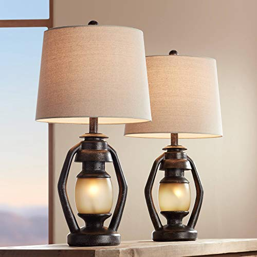 Horace Rustic Farmhouse Table Lamps Set of 2 with Nightlight Miner Lantern Brown Oatmeal Tapered Drum Shade for Living Room Bedroom House Bedside Nightstand Home Office Family - Franklin Iron Works