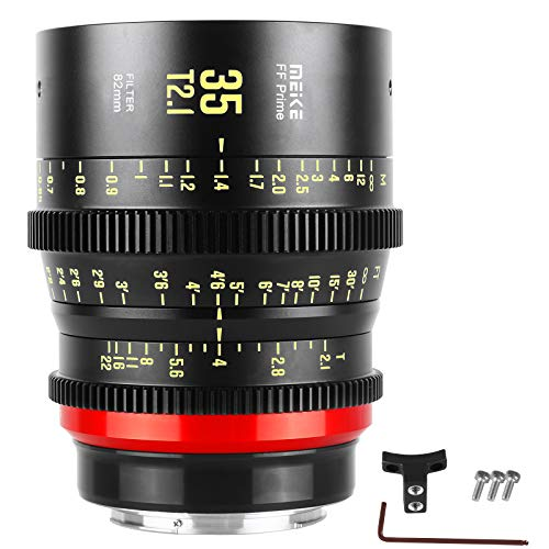 Meike 35mm T2.1 Full-Frame Manual Focus Wide Angle Prime Cinema Lens for Canon EF Mount and Cine Camcorder ZCAM E2-F6, E2-F8, Canon EOS C500 Mark II, and S35 EOS C100 Mark II, EOS C200, Zcam E2-S6 6K