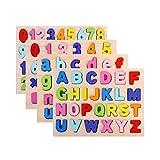 LEMORTH Jouets éducatifs for Enfants, Apprentissage précoce Lettre de Jigsaw Alphabet, Alphabet en Bois Puzzle, Number Puzzle Puzzle Preschool, ABC Puzzle Toys en Bois numérique (Couleur : A-z)