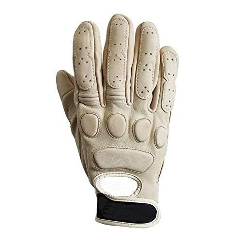 FAGavin Guantes de motocicleta para locomotora, guantes de equitación retro, guantes de cuero anticaída (color gris, tamaño: M)