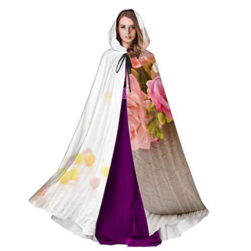 QuqUshop Flores de Colores en una Maceta de cerámica Traje con Capucha Capa con Capucha Unisex 59 Pulgadas para Navidad Disfraces de Halloween Cosplay