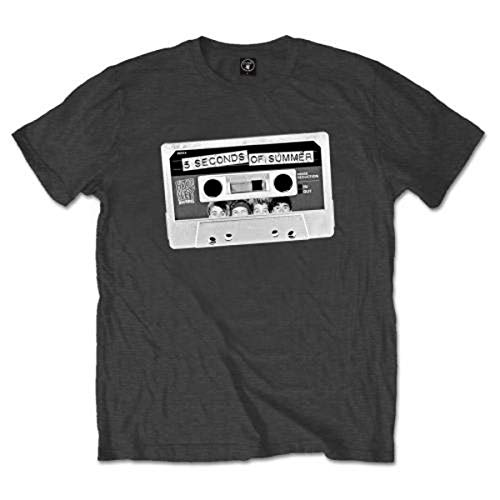 5 Seconds of Summer Tape T-Shirt, Gris-Gris (Anthracite), X-Large Homme