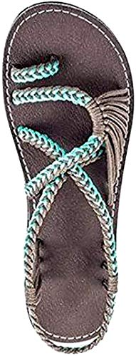 Sandalias de Mujer Verano 2018 Gladiador Zapatillas con Trenzas Cruzadas Moda Bohemia Chanclas de Playa X Verde EU 41
