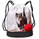 哀れっぽい猫 多機能ビーム口バックパック ナップサック スポーツバック スポーツ用バッグ 引きひも袋 収納ポーチ 通学 運動 旅行に最適 アウトドア 収納バッグ 出張用 ショッピングバッグ 男女兼用