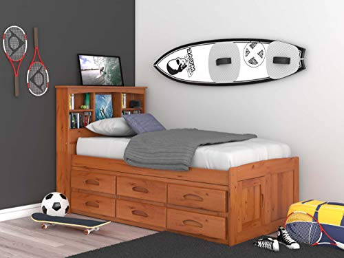 Discovery World Furniture Captains Bookcase Bed, Twin, Honey