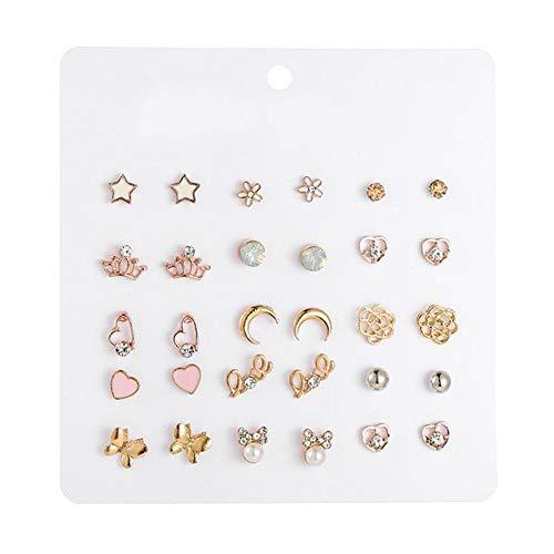 kowaku 15 Pares de Pendientes de Botón de Oreja Pequeños para Mujer Elegante Múltiple con Estrella de Flores, Joyería