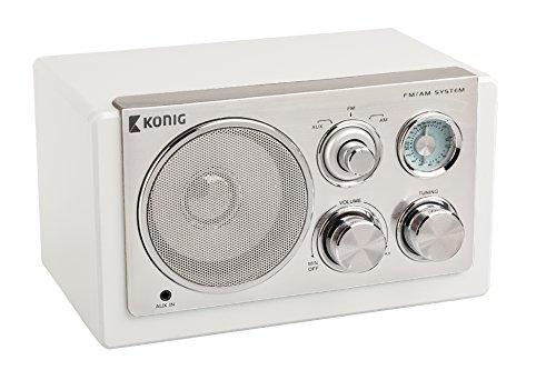 König - Radio De Sobremesa De Diseño Vintage En Color Blanco
