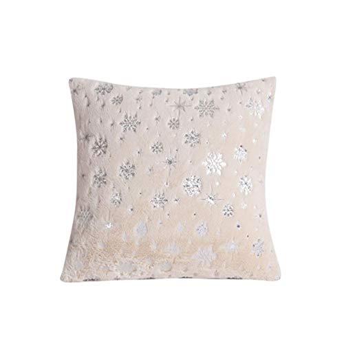 Mosumi Funda de cojín de felpa con forma de copo de nieve de 43 x 43 cm, para dormitorio, sala de estar, oficina, 1 unidad, color beige