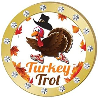 Crown Awards Turkey Trot Gold Rhinestone Pin, Gold Thanksgiving Pins Prime