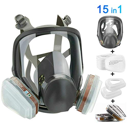 HAOX 15in1 Full Face Large Size Respirator,Full Face Wide Field of View,Widely Used in Organic Gas,Paint spary, Chemical,Woodworking