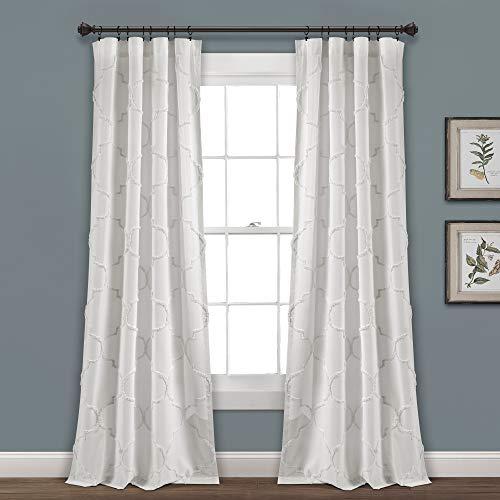 "Lush Decor White Avon Chenille Trellis Window Curtain Panel Pair (95"" x 40"") (16T003877)"