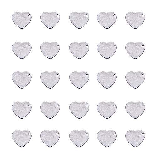 PandaHall Elite 200 STK. 304 Edelstahl Flat Heart Blank Stamping Tag Anhänger Charms für die Schmuckherstellung