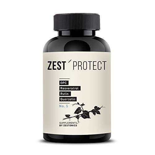 Zest'Protect OPC Traubenkernextrakt Kapseln -55gr OPC-Wirkstoff pro Dose: Spitzenwert - Clevere Kombination: OPC + Rutin, Quercetin, Vitamin C und Resveratrol. 120 Kapseln im 4 Monatsvorrat