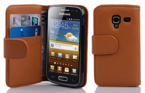 Cadorabo Hülle für Samsung Galaxy ACE 2 in Cognac BRAUN – Handyhülle aus Strukturiertem Kunstleder mit Standfunktion & Kartenfach – Hülle Cover Schutzhülle Etui Tasche Book Klapp Style