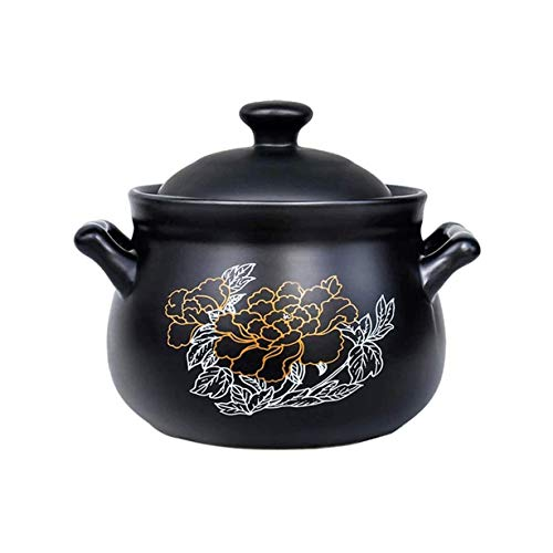 XIXIDIAN Cerámica Casserole Black Black Black, Utensilios de Cocina de cerámica, Color Negro Resistente al Calor, 2700 ml