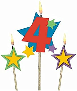 #4 Decorative Birthday Candle & Star Candles | Party Supply